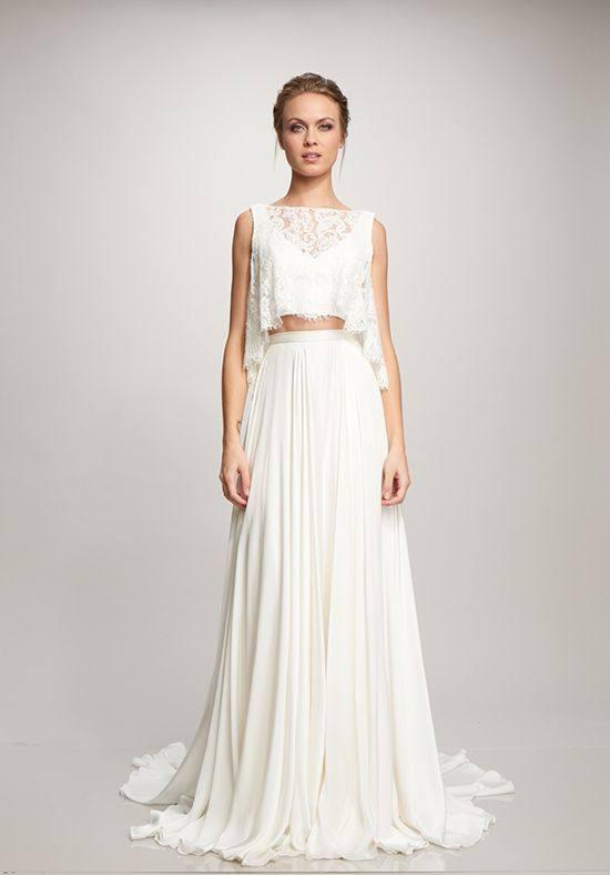 свадебное платье с кружевным топом со шлейфом