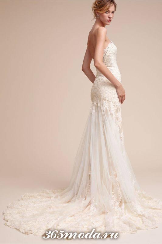 свадебное платье бюстье со шлейфом