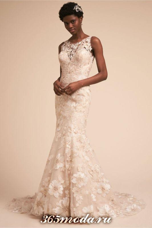 свадебное кружевное платье молочного цвета