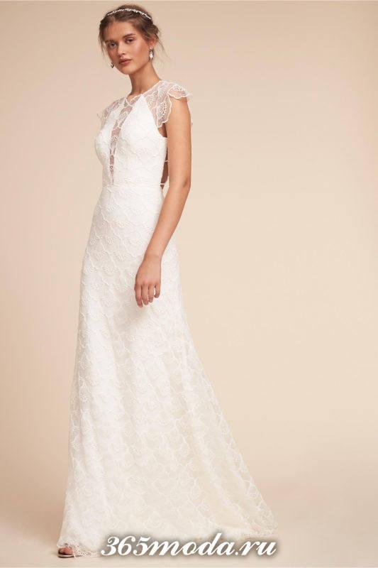 свадебное кружевное платье белое