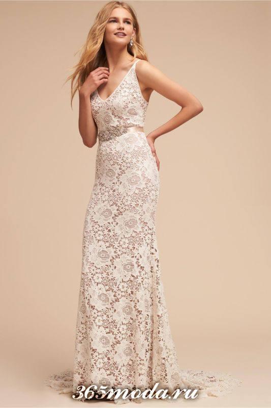 свадебное кружевное платье прямое