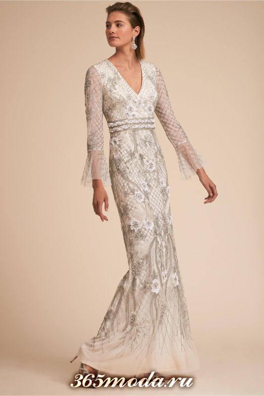 свадебное кружевное платье с длинными рукавами