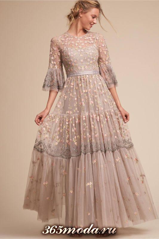 свадебное кружевное платье клеш с длинными рукавами