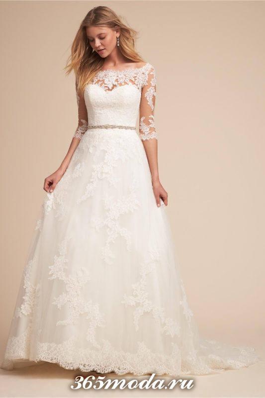 свадебное кружевное длинное платье с рукавами