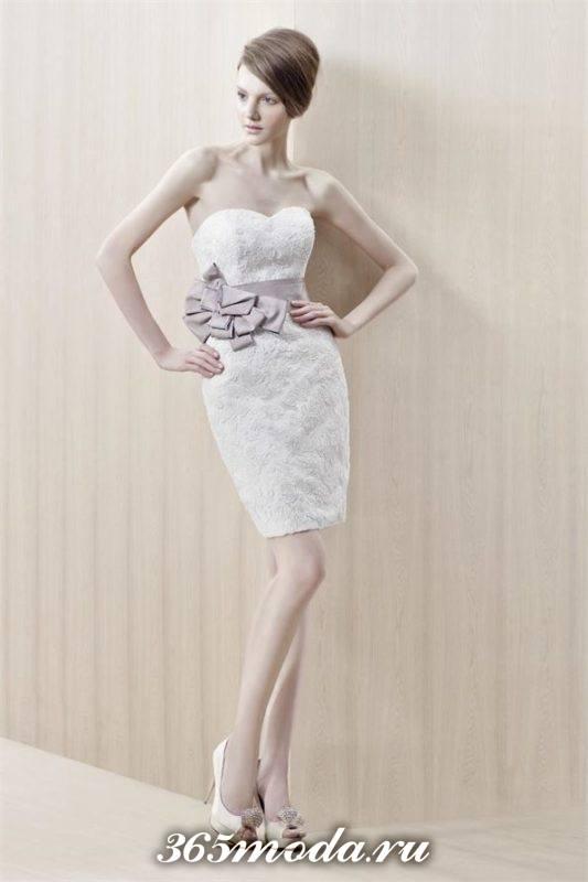 короткое свадебное платье футляр с декором