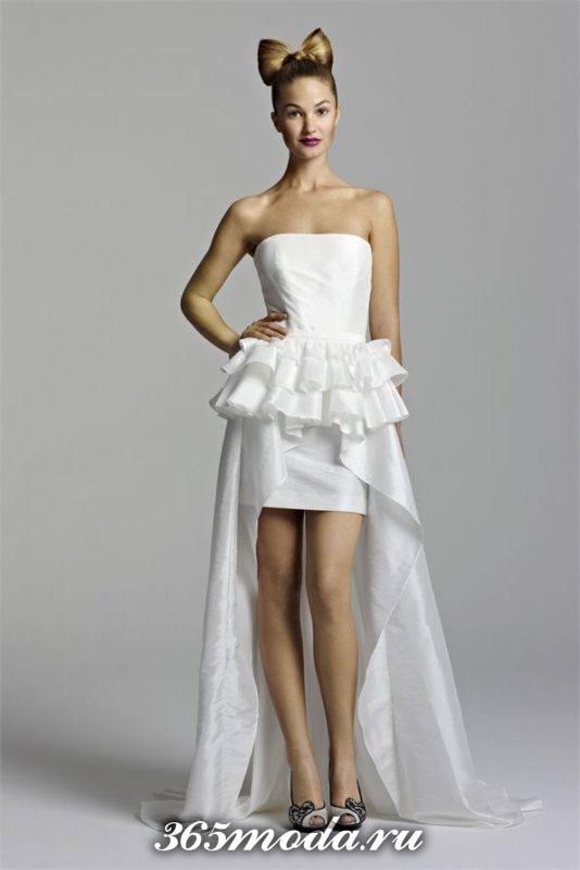 короткое свадебное платье с баской и шлейфом