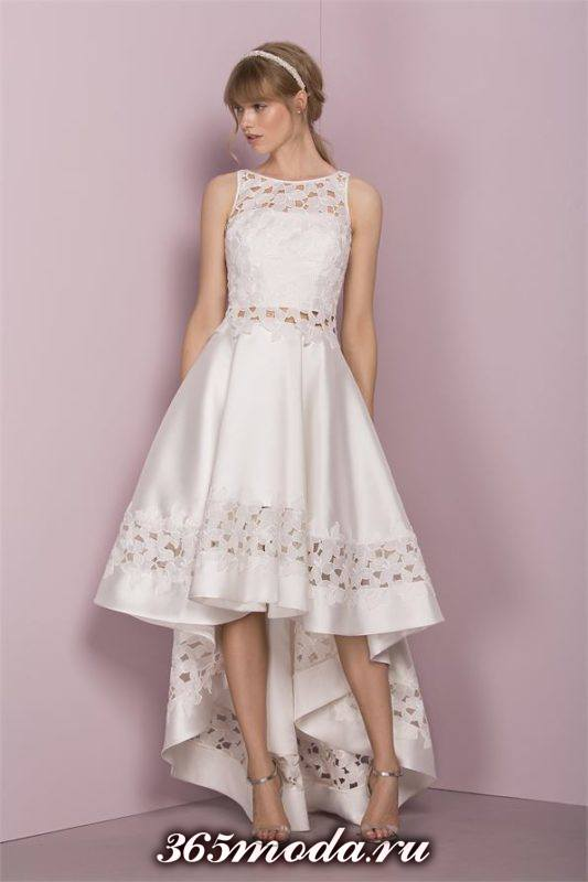 короткое свадебное платье клеш с кружевом