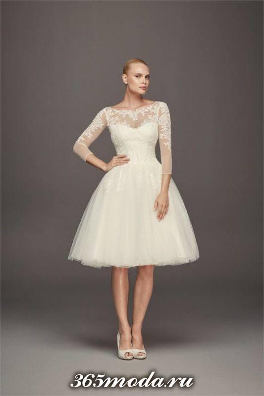короткое свадебное платье с длинными рукавами