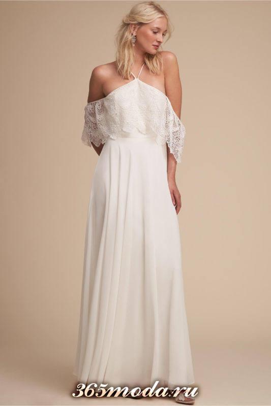 свадебное платье с открытыми плечами с оборкой