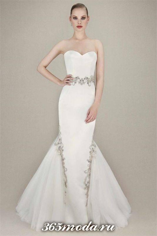 модное свадебное платье русалка со стразами