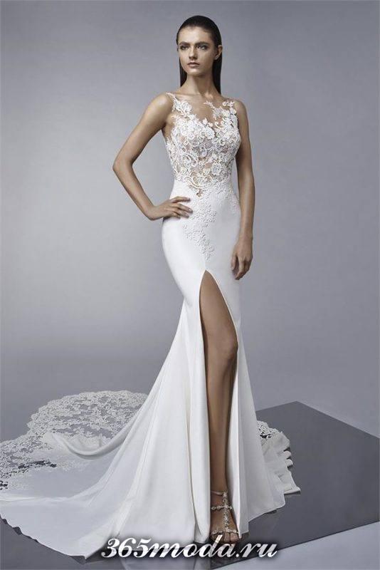 модное свадебное платье с разрезом