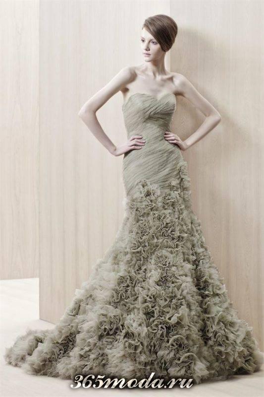 модное свадебное платье цветное с декором