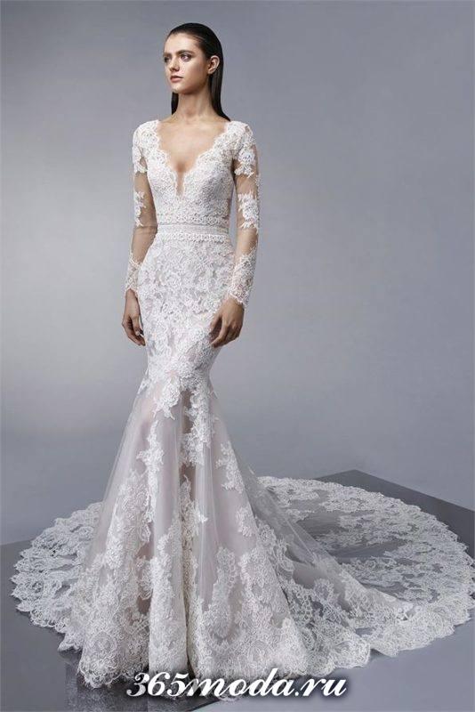 модное свадебное кружевное платье с рукавами