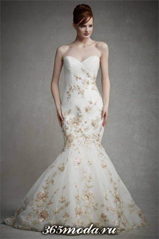модное свадебное платье русалка с вышивкой