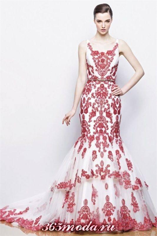 модное свадебное платье с красивой вышивкой