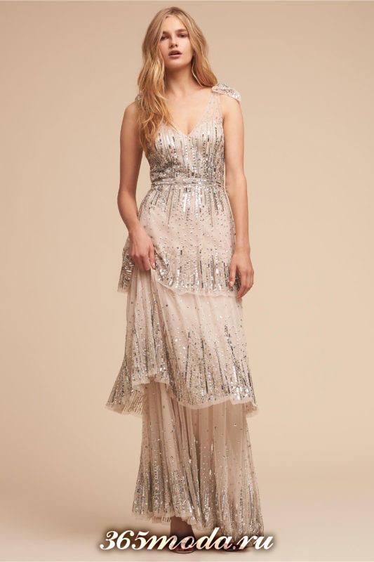 модное свадебное платье многослойное с декором