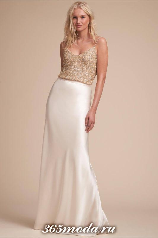 модное свадебное платье бюстье шелковое