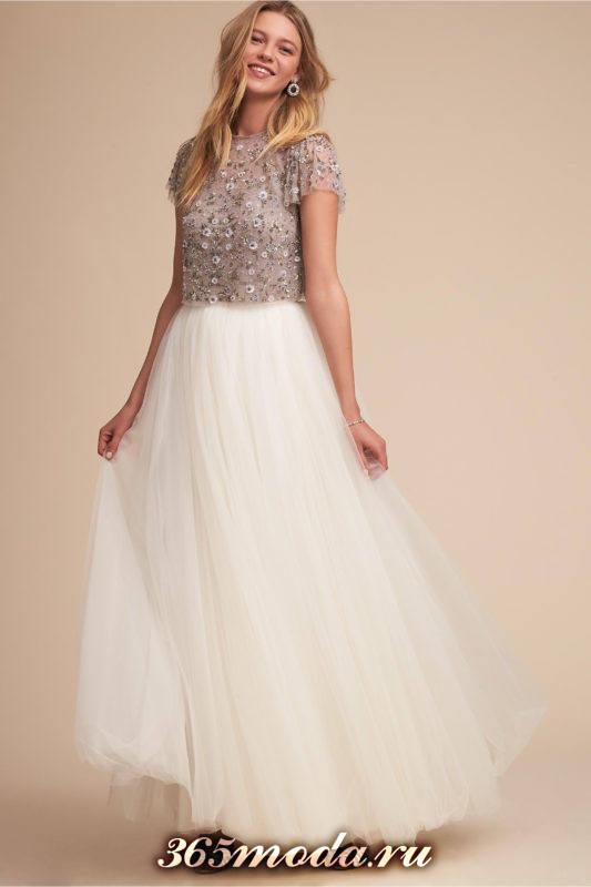 модное пышное свадебное платье с декорированным верхом