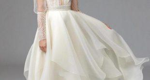 модное свадебное платье с рукавами фонариками