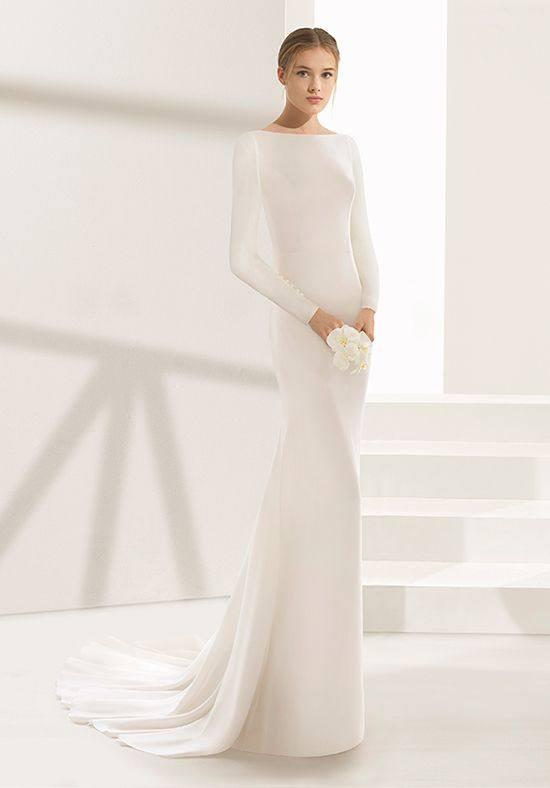 модное свадебное закрытое платье с длинными рукавами