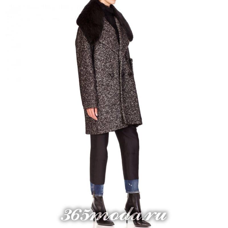 короткое пальто с меховым воротником осень-зима