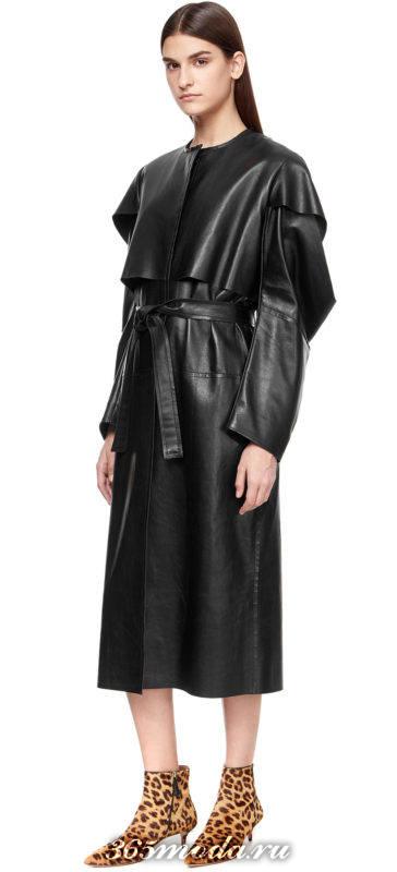 черный кожаный плащ с оборками осень-зима