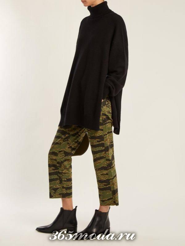 укороченные брюки с принтом осень-зима