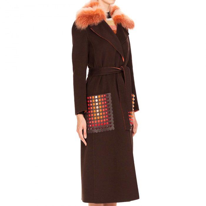 Модные тренды осень-зима 2019-2020: длинное пальто с накладными карманами