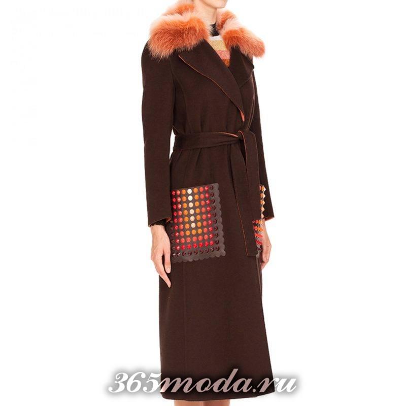 длинное пальто с накладными карманами осень-зима