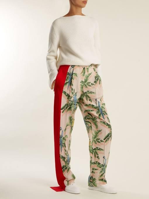 брюки с лампасами и принтом осень-зима
