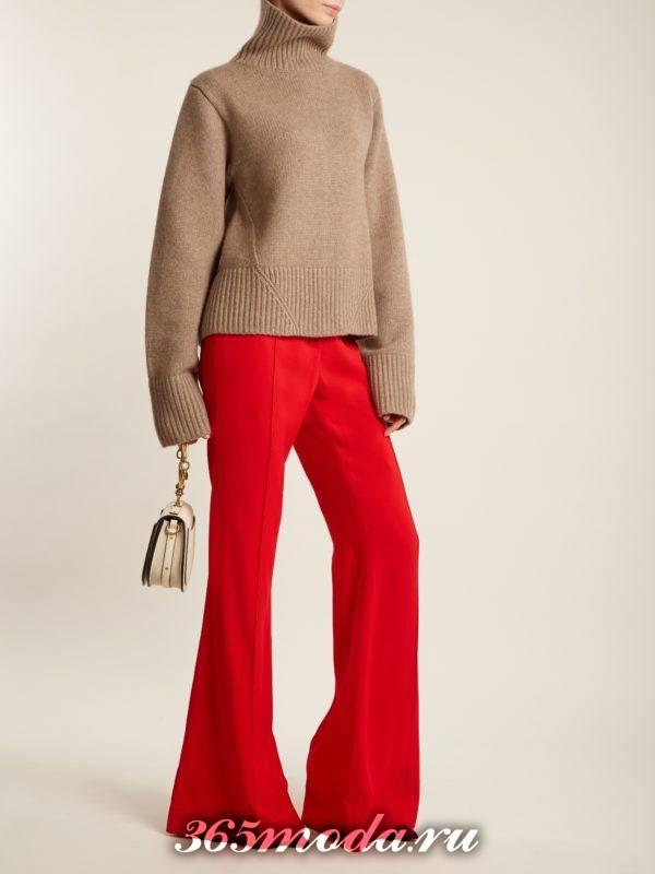 красные брюки клеш осень-зима
