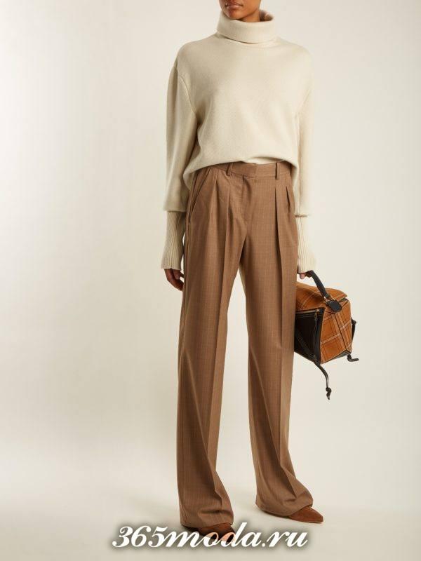 шырокие коричневые брюки осень-зима