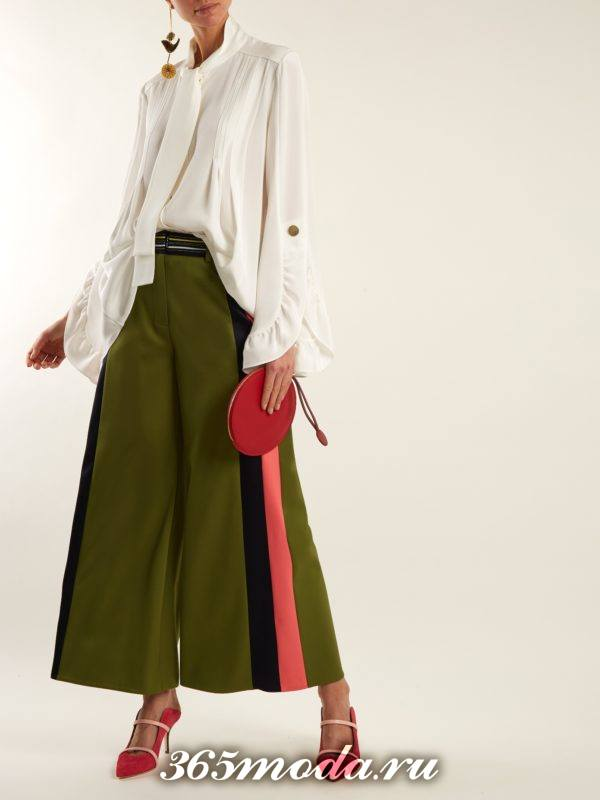 брюки кюлоты с лампасами осень-зима