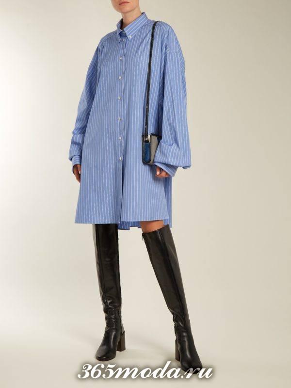 платье рубашка оверсайз осень-зима