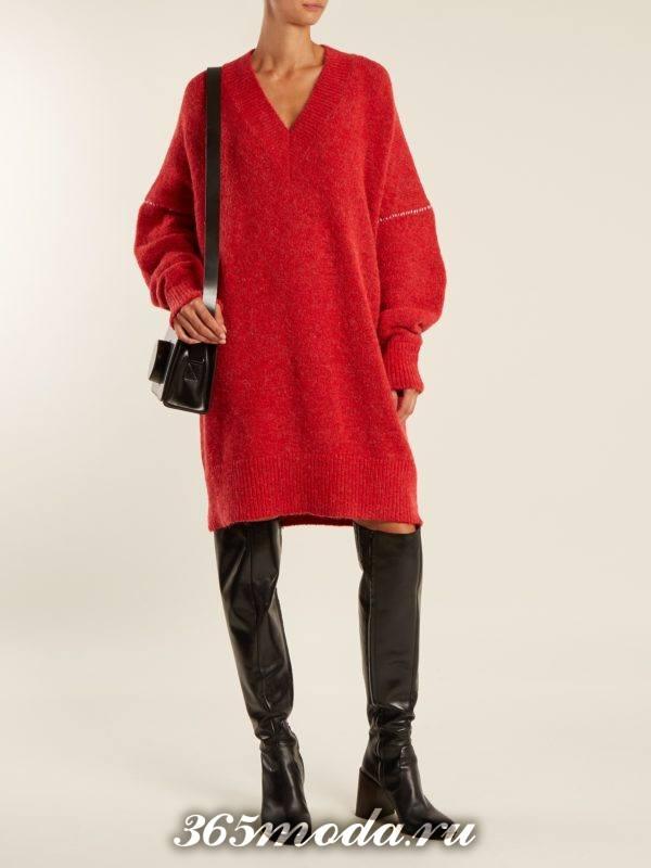 красное платье свитер осень-зима
