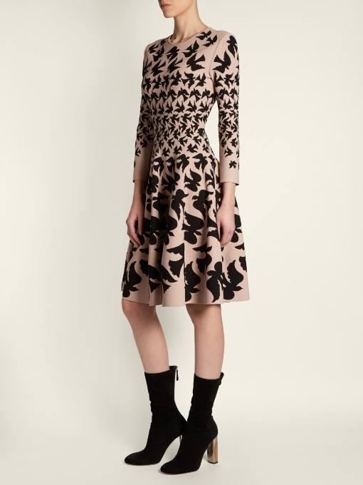 платье клеш с принтом осень-зима