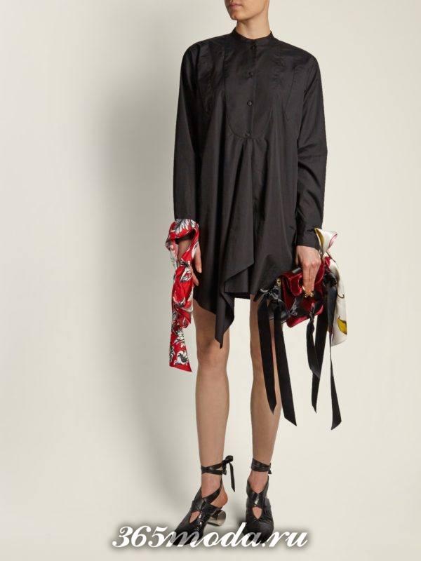 мини платье оверсайз с декором осень-зима
