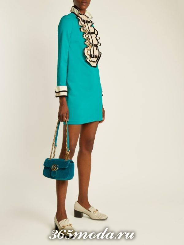 мятное мини платье с жабо осень-зима