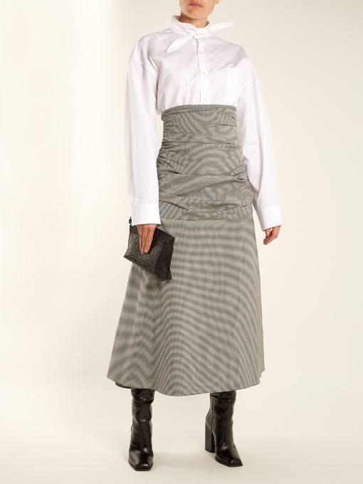 юбка миди с высокой талией осень-зима