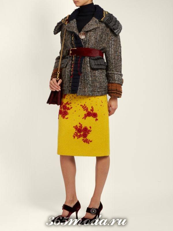 желтая юбка карандаш осень-зима