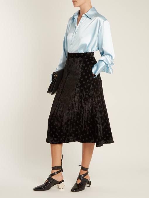 бархатная юбка клеш с принтом осень-зима