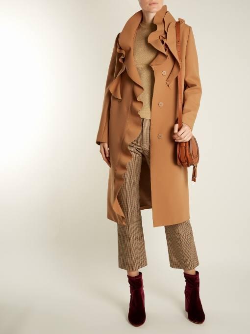 миди пальто с оборками осень-зима