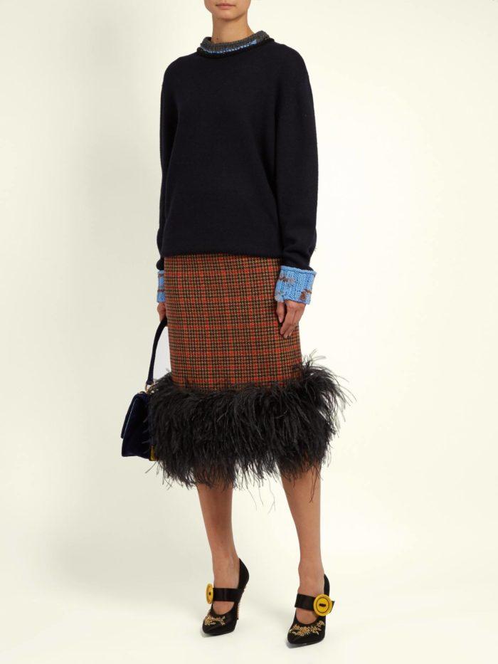 юбка карандаш с мехом
