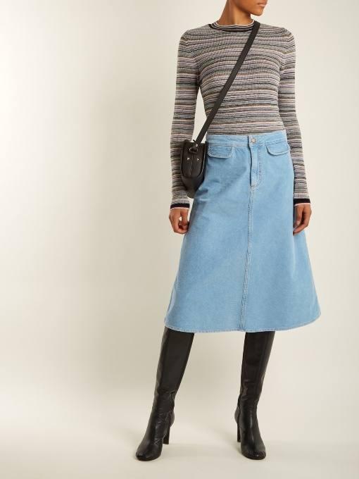 джинсовая юбка трапеция осень-зима