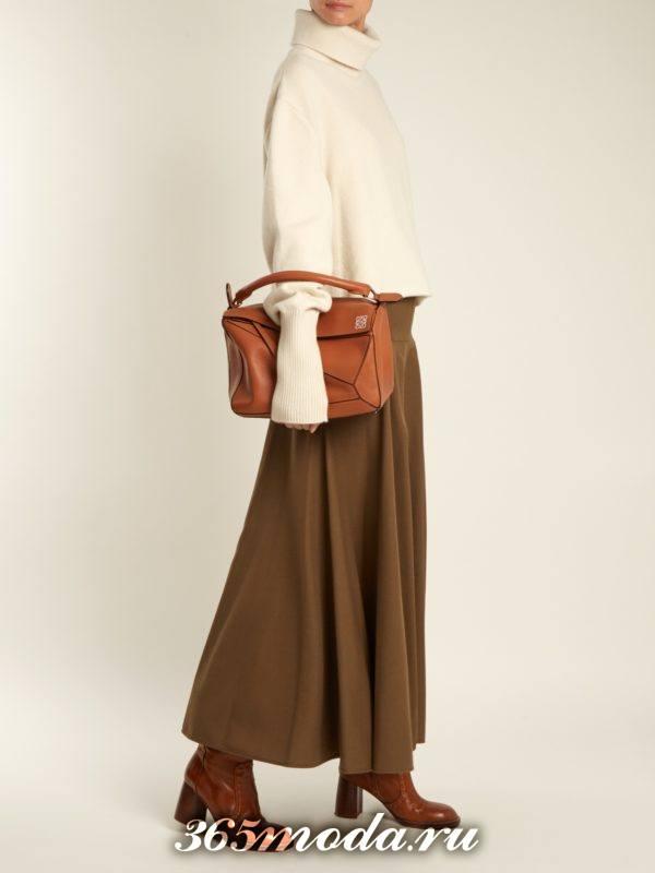 длинная коричневая юбка осень-зима