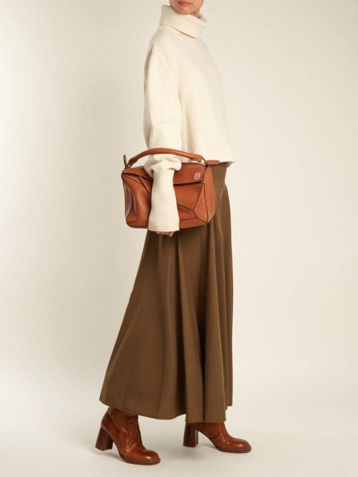 длинная коричневая юбка