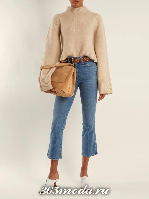 укороченный свитер с шырокими рукавами осень-зима