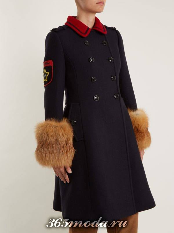пальто милитари с мехом на рукавах осень-зима