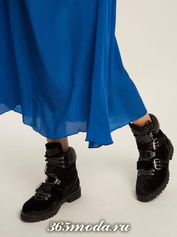 черные ботинки с ремешками осень-зима