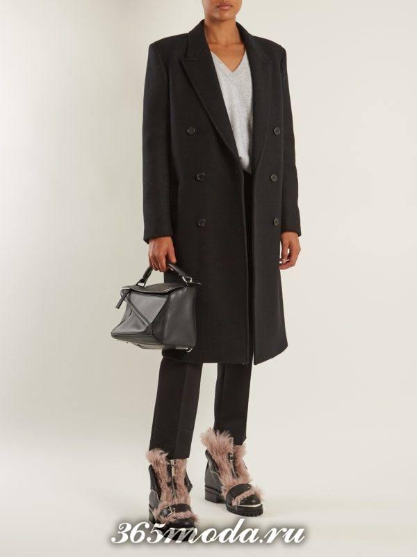 черные ботинки с мехом осень-зима